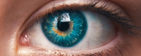 A blue lens eye