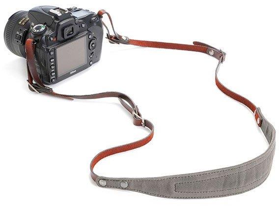 A dslr with proper setup of strap