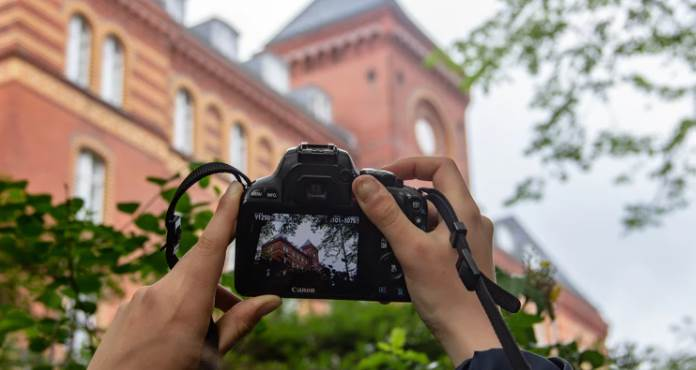 image of a camera taking a photo of building
